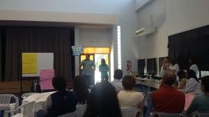 Diego Dybiec explicando el funcionamiento de nuestro sistema de gestión de alumnos.