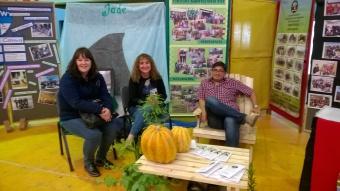Laura Arce, Bethy Roberts y Nicolás Amaranto en el espacio institucional. El mobiliario fue realizado en carpintería.
